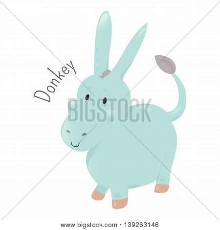 Donkey or ass isolated on white background. Domesticated member of the horse family, Equidae. Part of series of cartoon home animal species. Domestic pets. Sticker for kids. Child fun icon. Vector