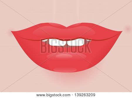 Glamour vector lip icon. Beautiful shiny female lip. Realistic sexy kisse. Romantic smile. Passion mouth. Vector flat style icon