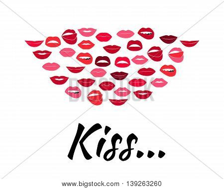 Set of glamour lips with red lipstick color. Vector illustration for fashion design. Beautiful shiny femile mouth collection isolated on white background. Women smile, teeth. Sexy icon sign symbol