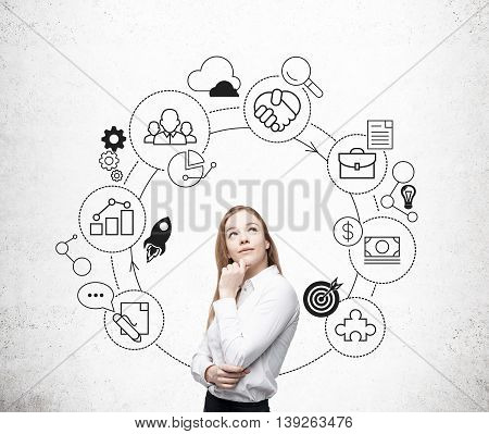 Thoughtful businesswoman and business cycle sketch on concrete wall background