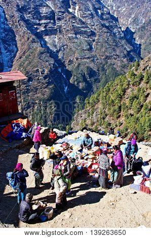 Traditional Saturday Market  In  Namche Bazar, Nepal