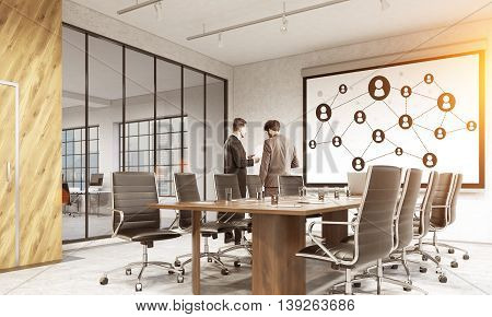Social network on whiteboard in modern conference room interior with sunlight city view and two businessmen discussing contract. 3D Rendering