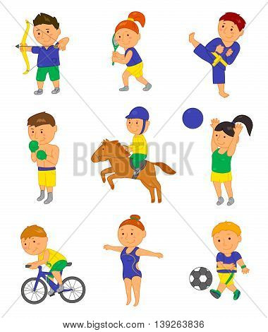 Cartoon sport kids. Vector illustration for 2016 brazil olympic game. Boy, girl isolated on white background. Set of cute bright school child clip art. Football, soccer, gymnastics boxing horse tennis