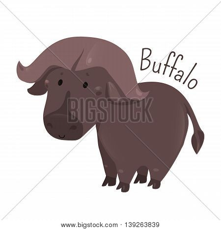 African buffalo isolated. Cape. Syncerus caffer. Large bovine from Africa. Horns have fused bases. Sticker for kids. Part of series of cartoon savannah animal species. Child fun pattern icon. Vector