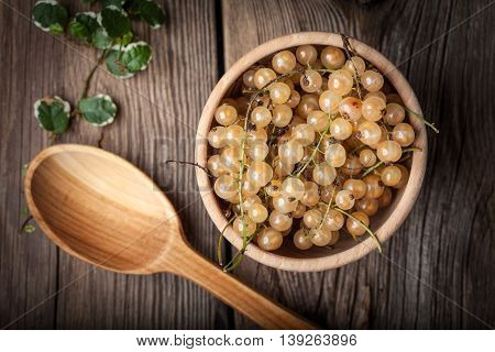 White Currant In Wooden Bowl.
