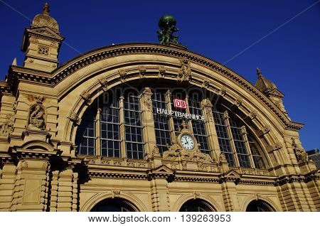 FRANKFURT AM MAIN, GERMANY - July 20 2016: Inside the Frankfurt central station in Frankfurt Germany.