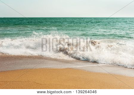 Seascape and beach with wave in evening light