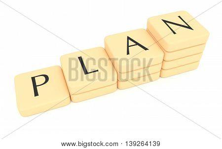 Stairs of letter tiles: plan 3d illustration