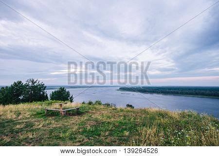Beautiful river views and blue cloudy sky at background.