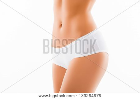 Close Up Photo Of Fit Slim Woman Belly And White Panties