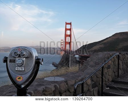 Iconic Golden Gate Bridge with Pay Telescope