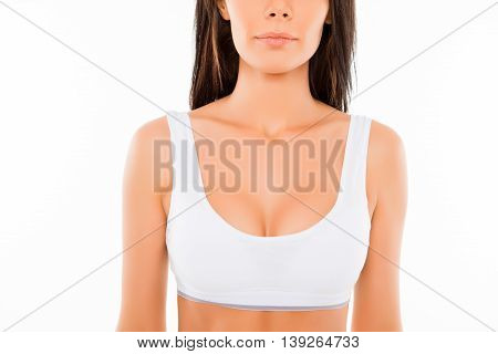 Close Up Of Young Perfect Shapely Woman In White Bra