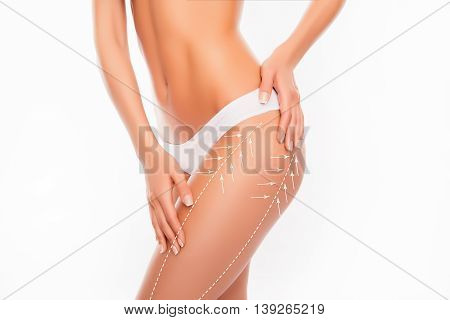 Beautiful Slim Fit Woman Touching Her Body With Arrows Isolated On White Background