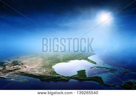 North America sunrise aerial view background  (Elements of this 3D rendered image furnished by NASA)