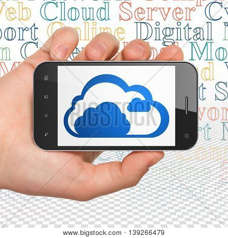 Cloud computing concept: Hand Holding Smartphone with  blue Cloud icon on display,  Tag Cloud background, 3D rendering