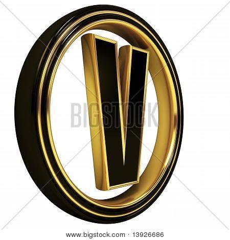 Gold Black Font Letter v