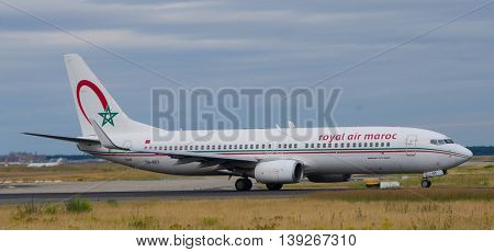 Frankfurt - July 16 2016 : Royal Air Maroc taking off at Frankfurt airport.