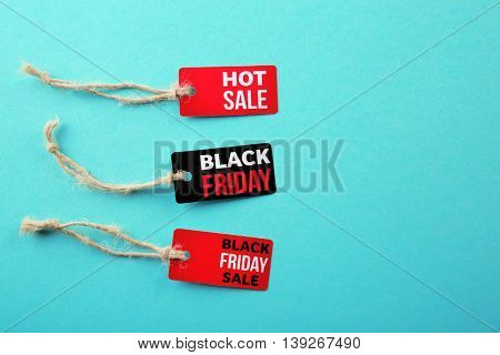 Black Friday shopping sale concept. Flat lay