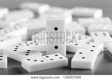 Heap of dominoes, closeup