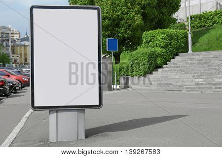 Vertical billboard in a city street