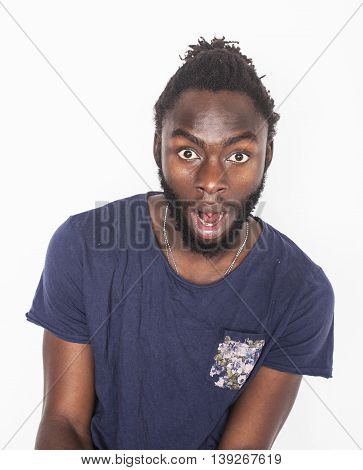 young attractive african american man isolated thinking emotional on white close up, lifestyle people concept, hipster guy