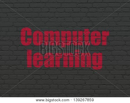 Studying concept: Painted red text Computer Learning on Black Brick wall background