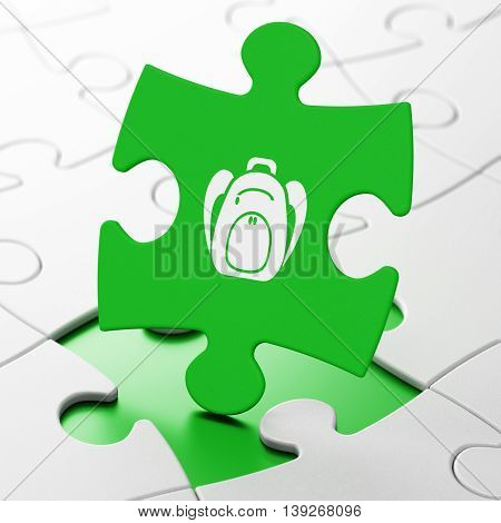 Education concept: Backpack on Green puzzle pieces background, 3D rendering