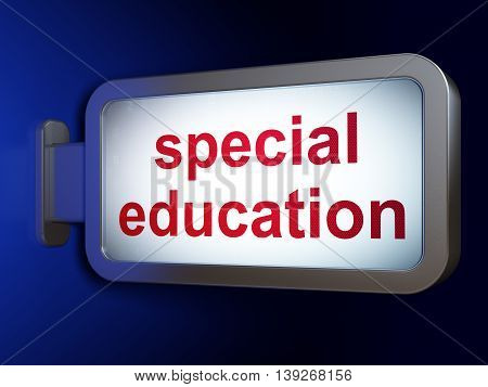 Learning concept: Special Education on advertising billboard background, 3D rendering