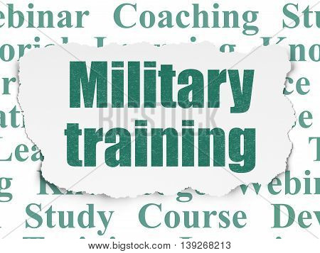 Studying concept: Painted green text Military Training on Torn Paper background with  Tag Cloud