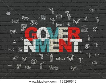 Political concept: Painted multicolor text Government on Black Brick wall background with  Hand Drawn Politics Icons