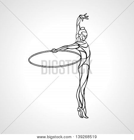 Rhythmic Gymnastics with Hoop black Silhouette on white background. Vector illustration. eps 8