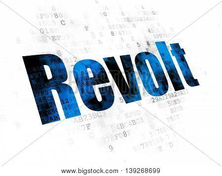 Politics concept: Pixelated blue text Revolt on Digital background