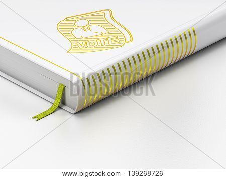 Politics concept: closed book with Gold Ballot icon on floor, white background, 3D rendering