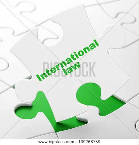 Political concept: International Law on White puzzle pieces background, 3D rendering