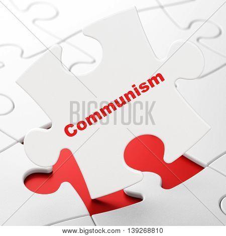 Political concept: Communism on White puzzle pieces background, 3D rendering