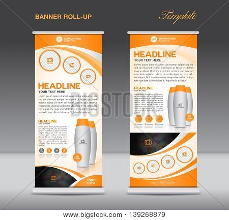 Orange Roll up banner stand template flyer design display poster cosmetics template