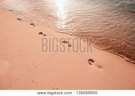 Footsteps on the sunset beach by the sea in summer