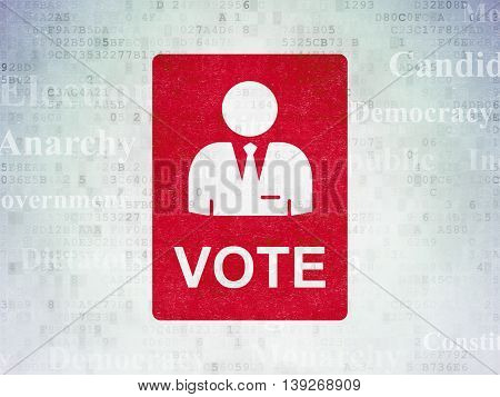 Political concept: Painted red Ballot icon on Digital Data Paper background with  Tag Cloud