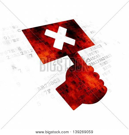 Political concept: Pixelated red Protest icon on Digital background