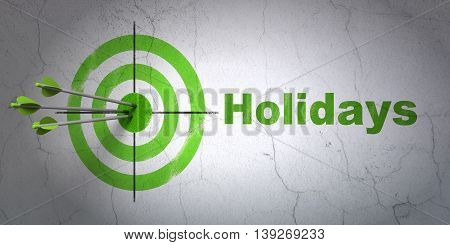 Success entertainment, concept: arrows hitting the center of target, Green Holidays on wall background, 3D rendering