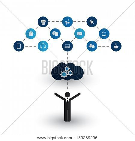 Digital World - Networks, IoT and Cloud Computing, Business and IT Management Concept Design with Icons