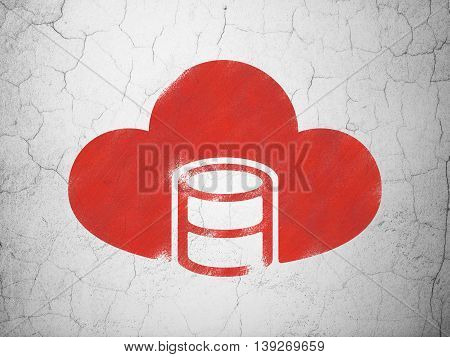 Software concept: Red Database With Cloud on textured concrete wall background
