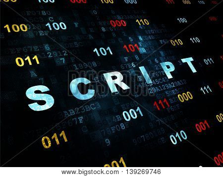 Software concept: Pixelated blue text Script on Digital wall background with Binary Code