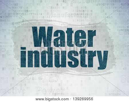 Manufacuring concept: Painted blue text Water Industry on Digital Data Paper background with   Tag Cloud