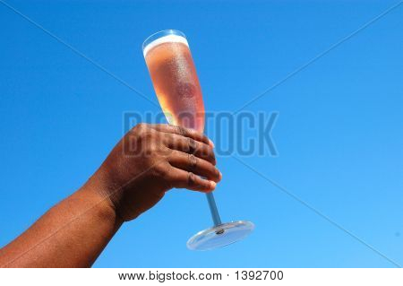 Black Hand With Champagne Glass