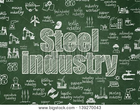 Manufacuring concept: Chalk White text Steel Industry on School board background with  Hand Drawn Industry Icons, School Board
