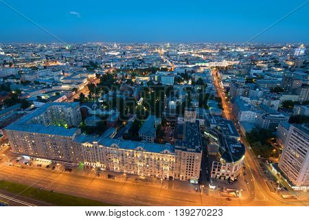 Panorama of Moscow in night, residential area in center of city