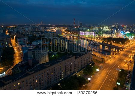 Bridge of Bogdan Khmelnitsky and Borodinsky bridge in Moscow, Russia at night