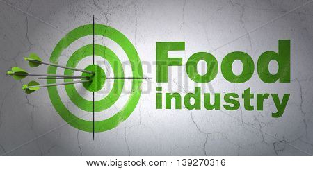 Success Manufacuring concept: arrows hitting the center of target, Green Food Industry on wall background, 3D rendering
