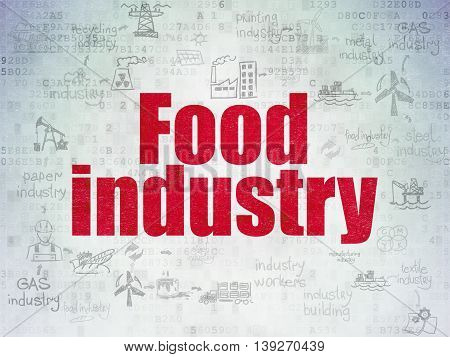 Industry concept: Painted red text Food Industry on Digital Data Paper background with  Scheme Of Hand Drawn Industry Icons